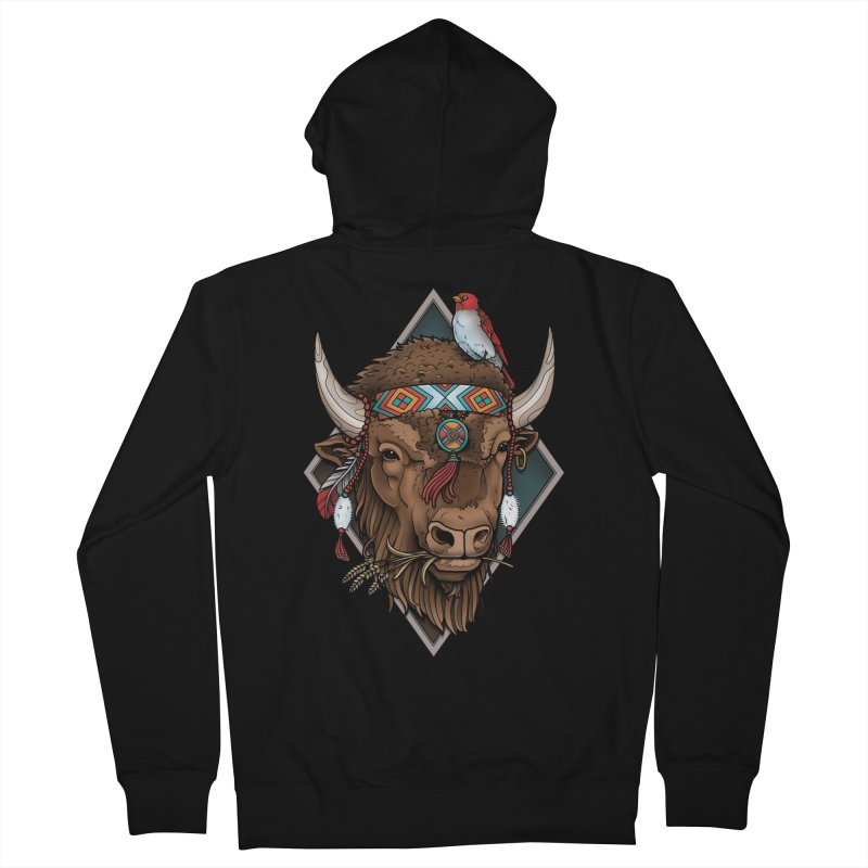 Buffalo Men's Zip-Up Hoody by Sam Phillips Illustration