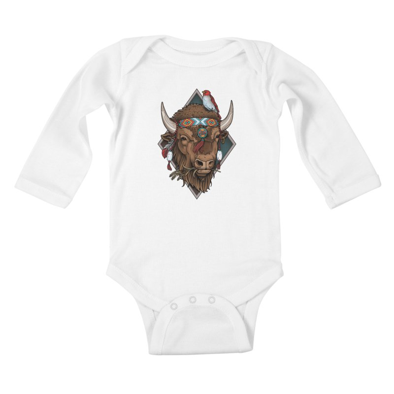 Buffalo Kids Baby Longsleeve Bodysuit by Sam Phillips Illustration