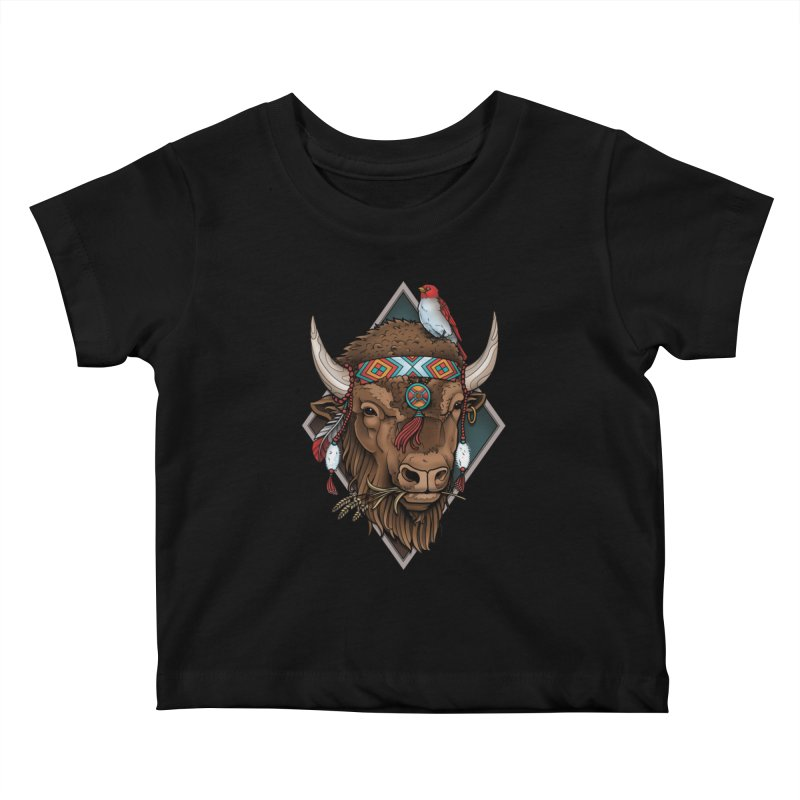 Buffalo Kids Baby T-Shirt by Sam Phillips Illustration