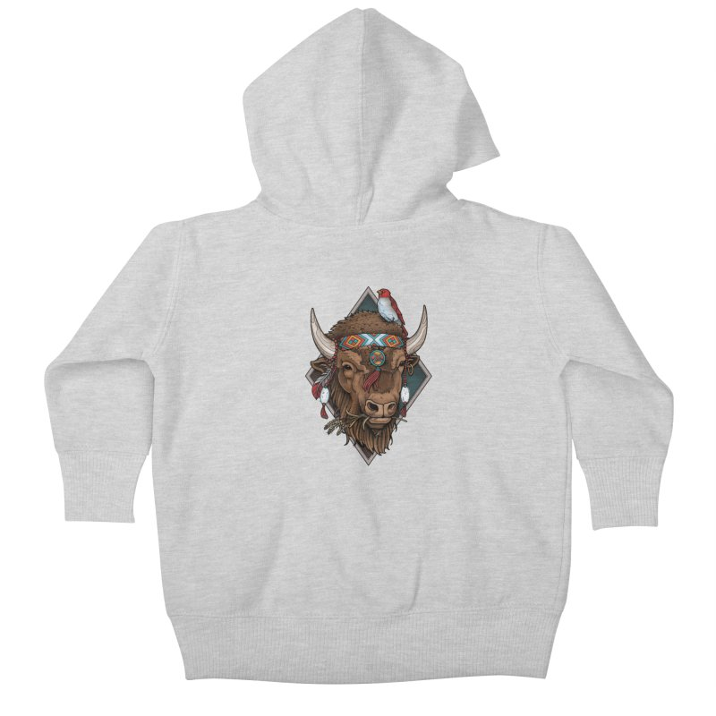 Buffalo Kids Baby Zip-Up Hoody by Sam Phillips Illustration