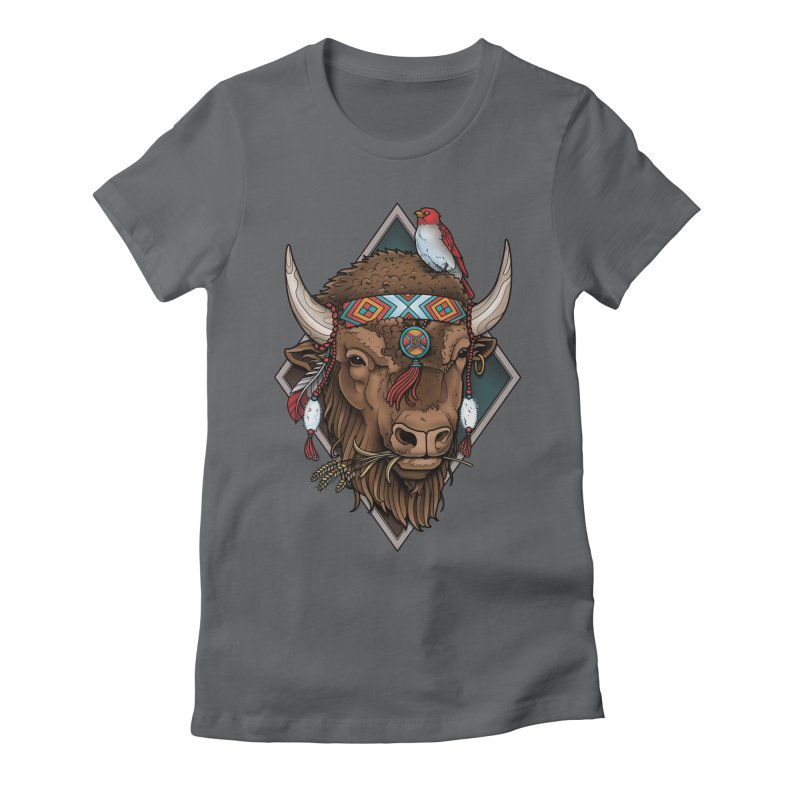 Buffalo Women's Fitted T-Shirt by Sam Phillips Illustration