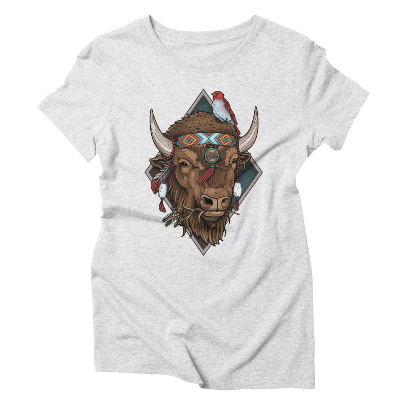 Buffalo Women's Triblend T-Shirt by Sam Phillips Illustration