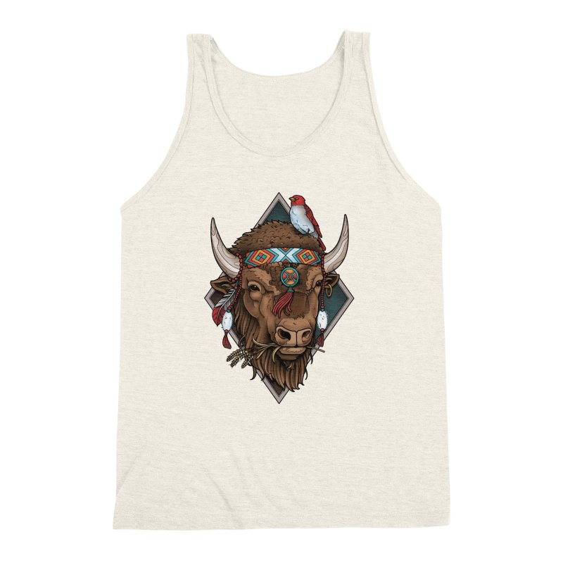 Buffalo Men's Triblend Tank by Sam Phillips Illustration
