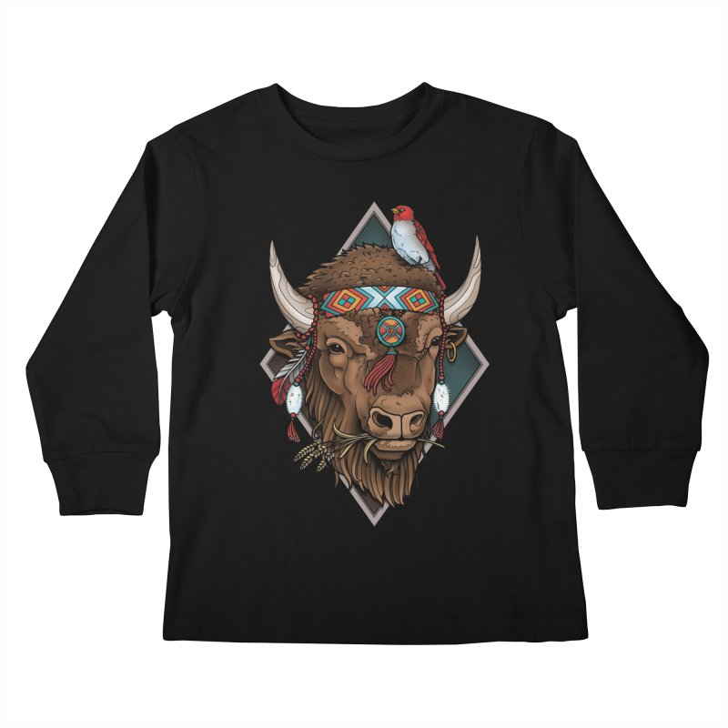 Buffalo Kids Longsleeve T-Shirt by Sam Phillips Illustration