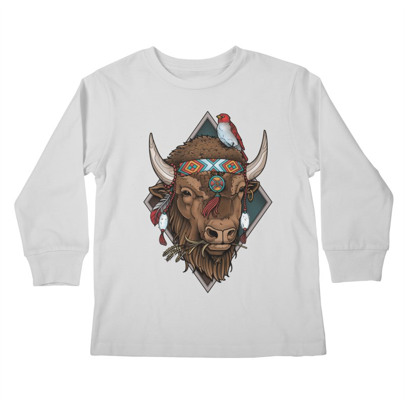 Buffalo Kids Longsleeve T-Shirt by Sam Phillips Illustration