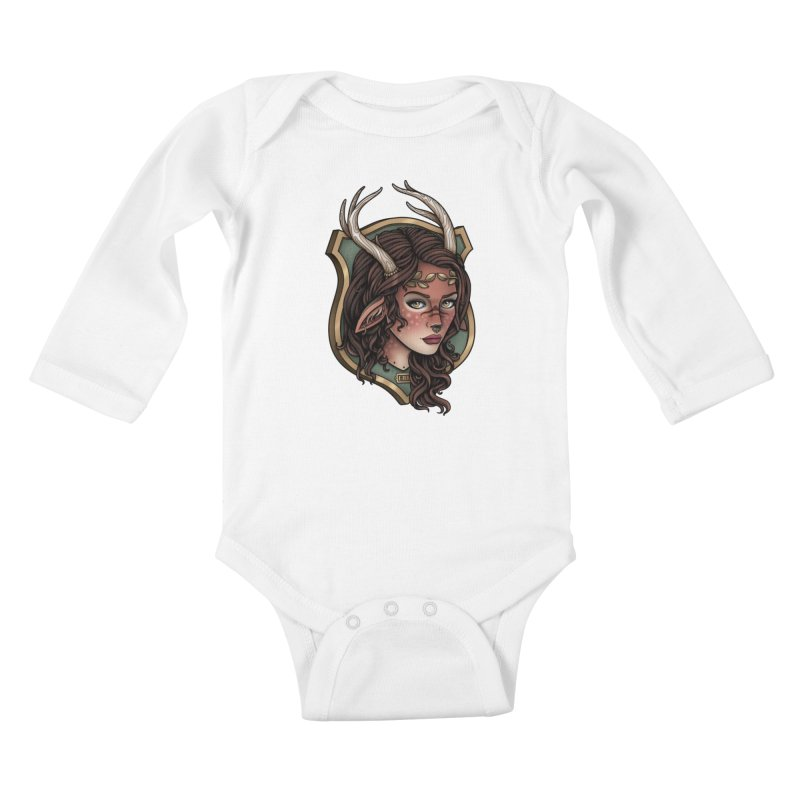Faun Girl Kids Baby Longsleeve Bodysuit by Sam Phillips Illustration