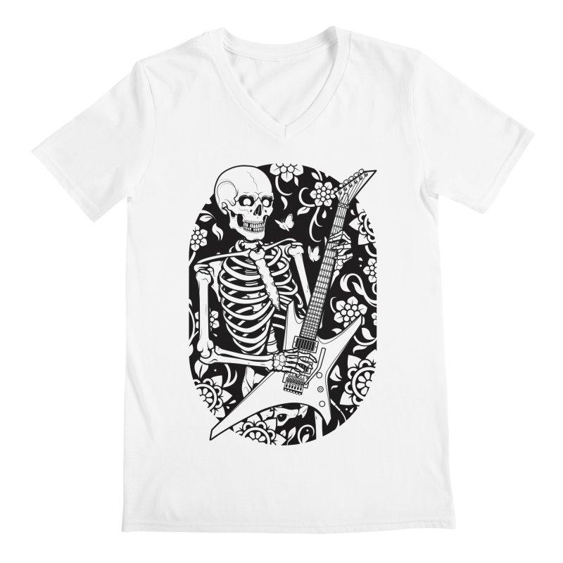 Skeleton Rocker Men's V-Neck by Sam Phillips Illustration