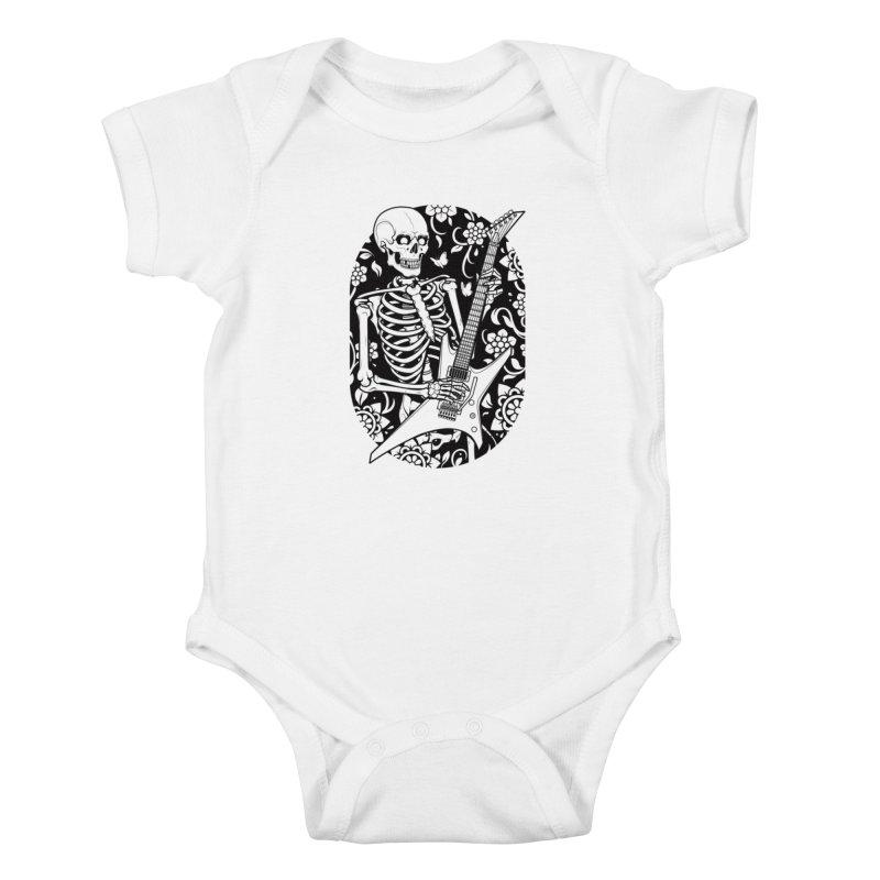 Skeleton Rocker Kids Baby Bodysuit by Sam Phillips Illustration