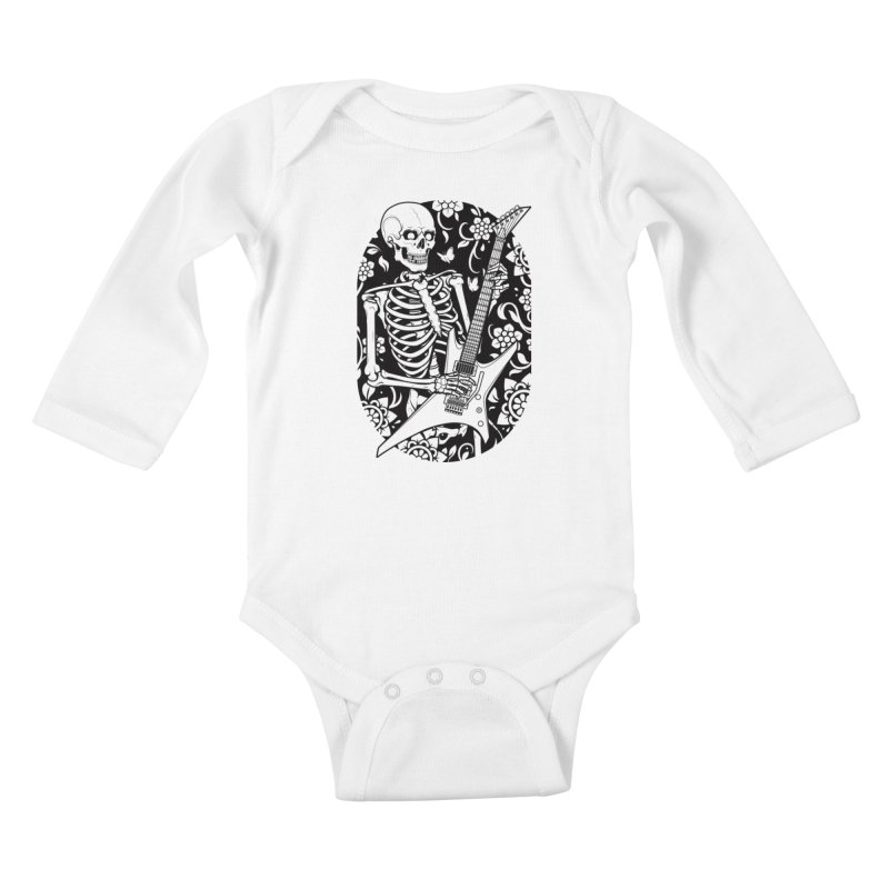 Skeleton Rocker Kids Baby Longsleeve Bodysuit by Sam Phillips Illustration
