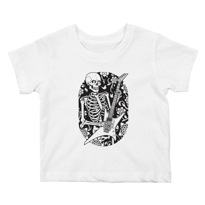 Skeleton Rocker Kids Baby T-Shirt by Sam Phillips Illustration