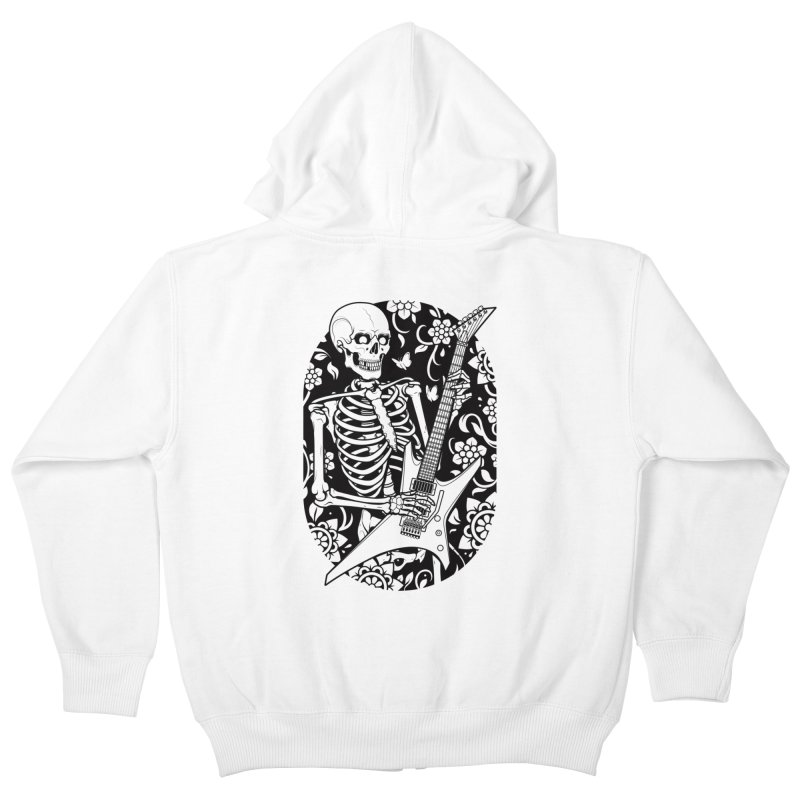 Skeleton Rocker Kids Zip-Up Hoody by Sam Phillips Illustration