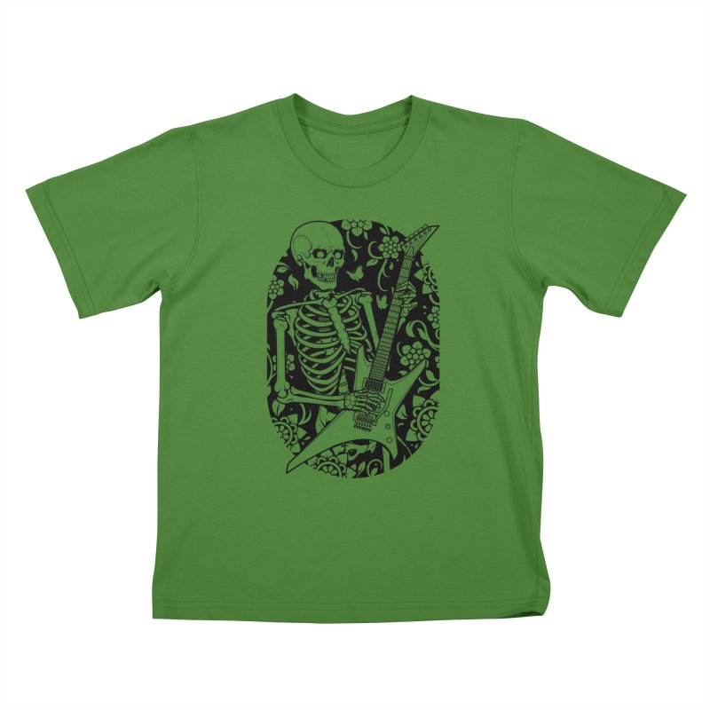 Skeleton Rocker Kids T-shirt by Sam Phillips Illustration