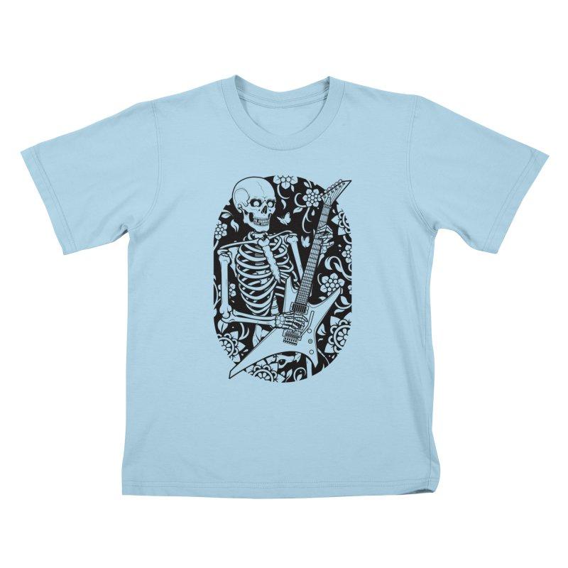 Skeleton Rocker Kids T-Shirt by Sam Phillips Illustration