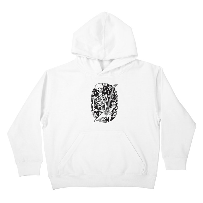 Skeleton Rocker Kids Pullover Hoody by Sam Phillips Illustration