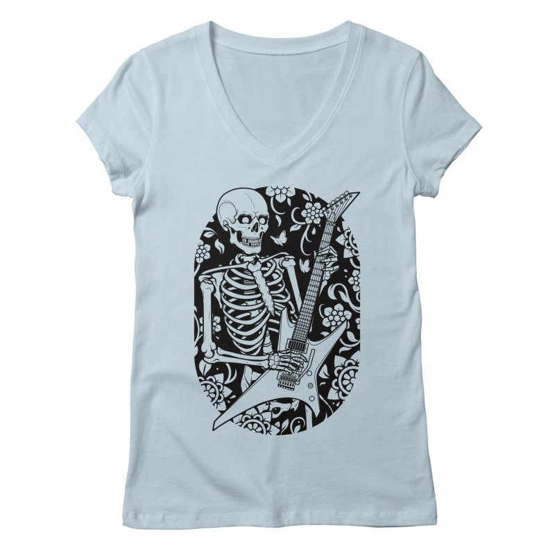 Skeleton Rocker Women's V-Neck by Sam Phillips Illustration