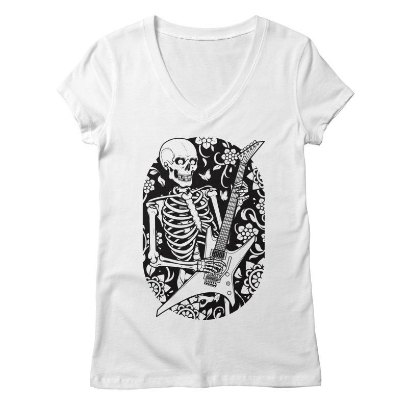 Skeleton Rocker Women's V-Neck by Sam Phillips Illustration