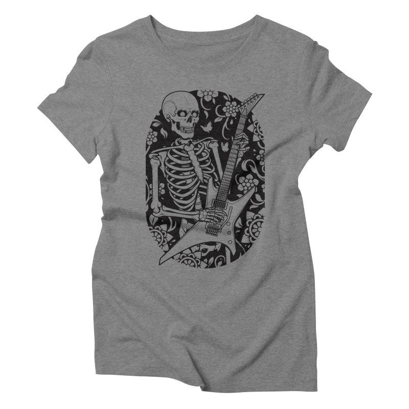 Skeleton Rocker Women's Triblend T-Shirt by Sam Phillips Illustration