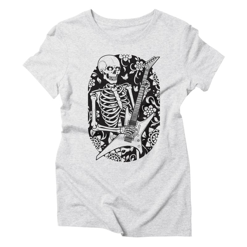 Skeleton Rocker Women's Triblend T-Shirt by Sam Phillips Illustration