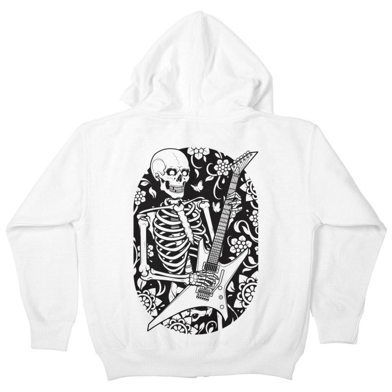 Skeleton Rocker Kids Zip-Up Hoody by Sam Phillips Illustration