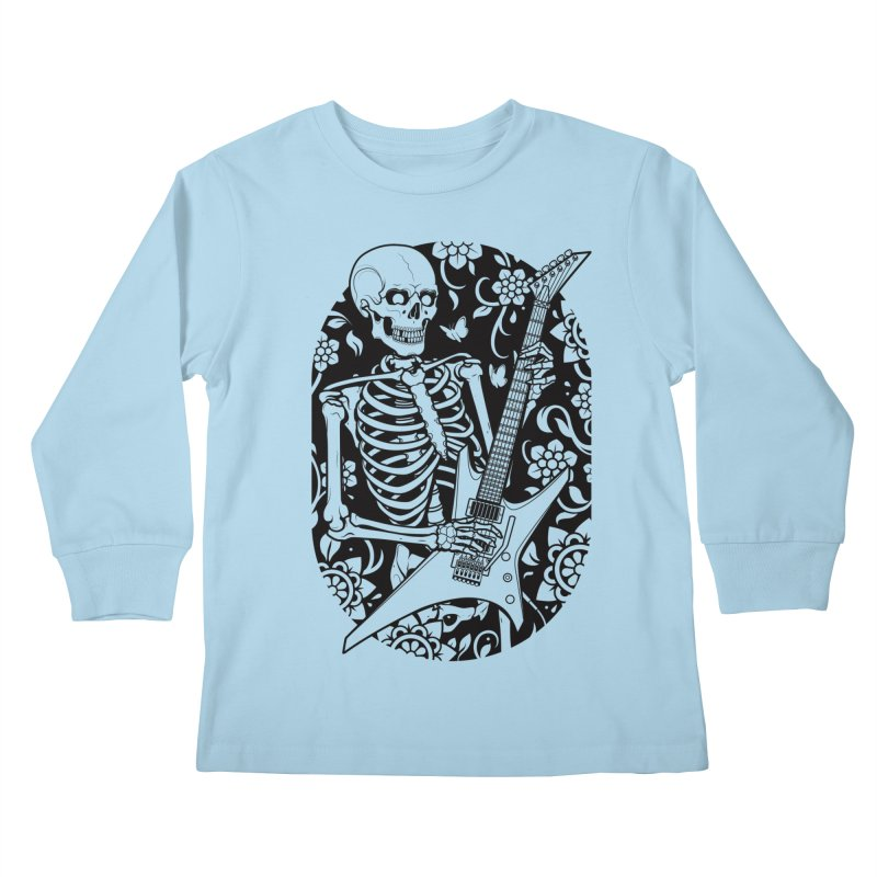 Skeleton Rocker Kids Longsleeve T-Shirt by Sam Phillips Illustration