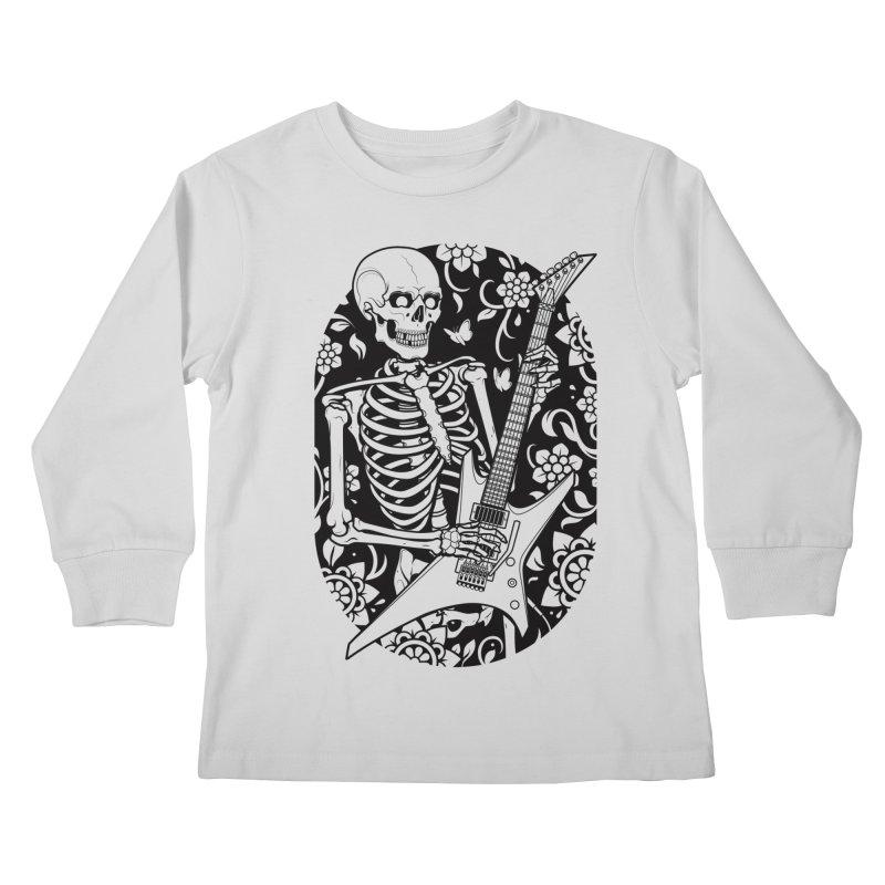 Skeleton Rocker Kids Longsleeve T-Shirt by Sam Phillips Illustration