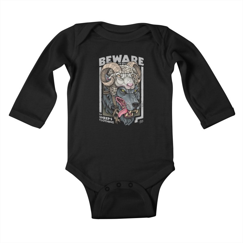 Beware The Wolf Kids Baby Longsleeve Bodysuit by Sam Phillips Illustration