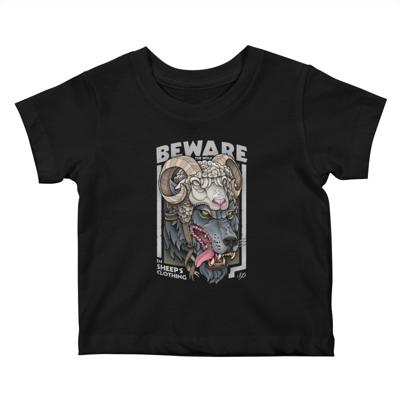 Beware The Wolf Kids Baby T-Shirt by Sam Phillips Illustration