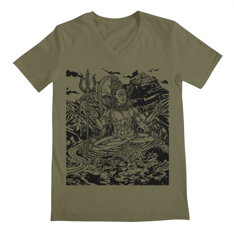 SHIVA THE CREATOR & DESTROYER Men's V-Neck by  SAMSKARA