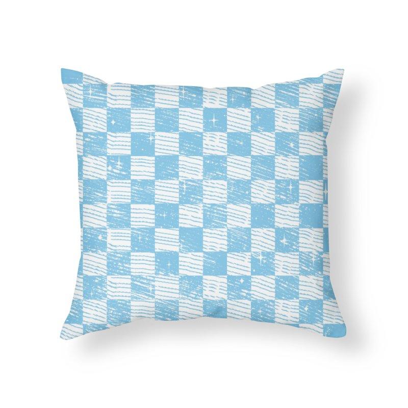 Chess Blue Pattern Home Throw Pillow by samuelrd's Shop