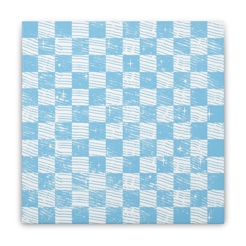 Chess Blue Pattern Home Stretched Canvas by samuelrd's Shop