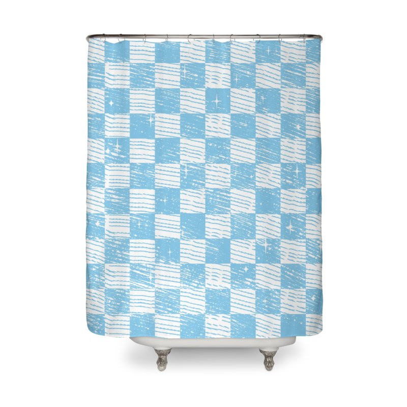 Chess Blue Pattern Home Shower Curtain by samuelrd's Shop