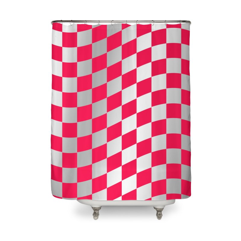 Random Pink Chess Home Shower Curtain by samuelrd's Shop