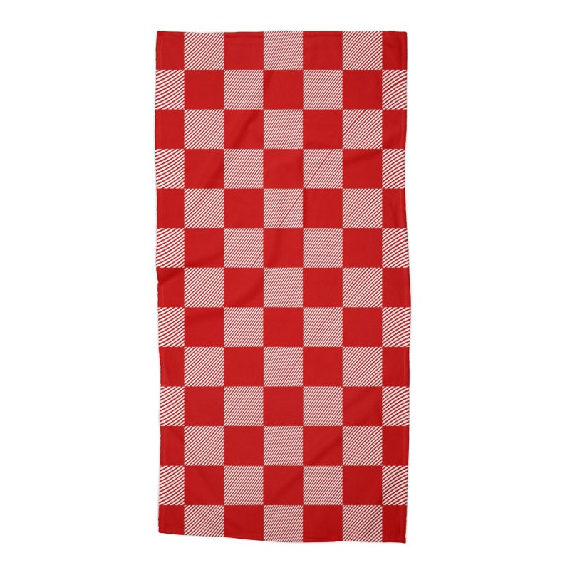 Random Red Chess Accessories Beach Towel by samuelrd's Shop