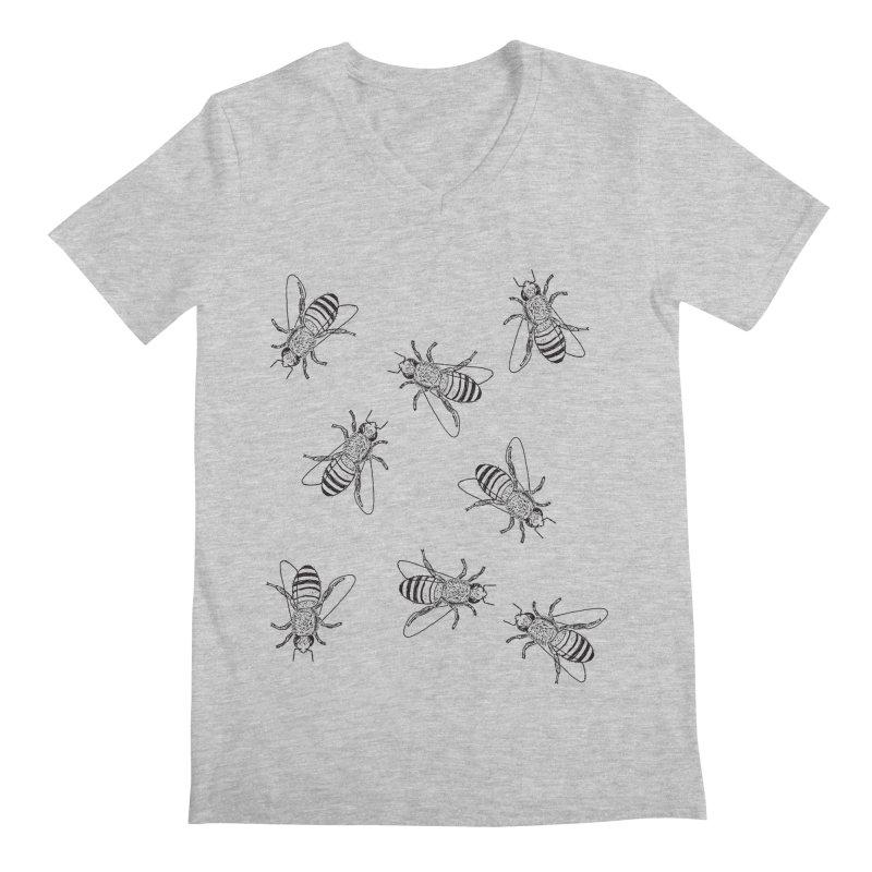 Honeybees Men's Regular V-Neck by sand paper octopi's Artist Shop