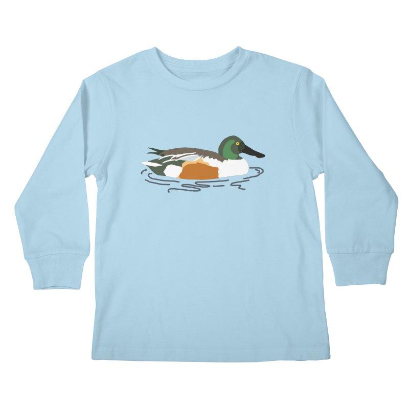 Northern Shoveler Kids Longsleeve T-Shirt by sand paper octopi's Artist Shop