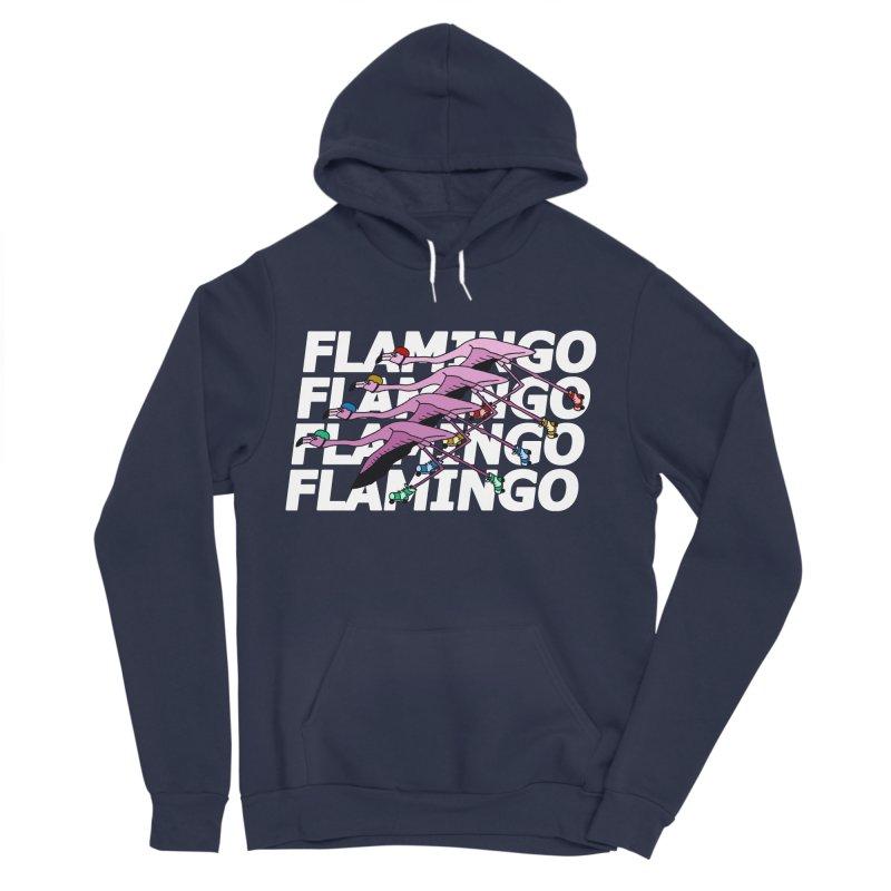 Flamingos - White Letters Women's Sponge Fleece Pullover Hoody by sand paper octopi's Artist Shop