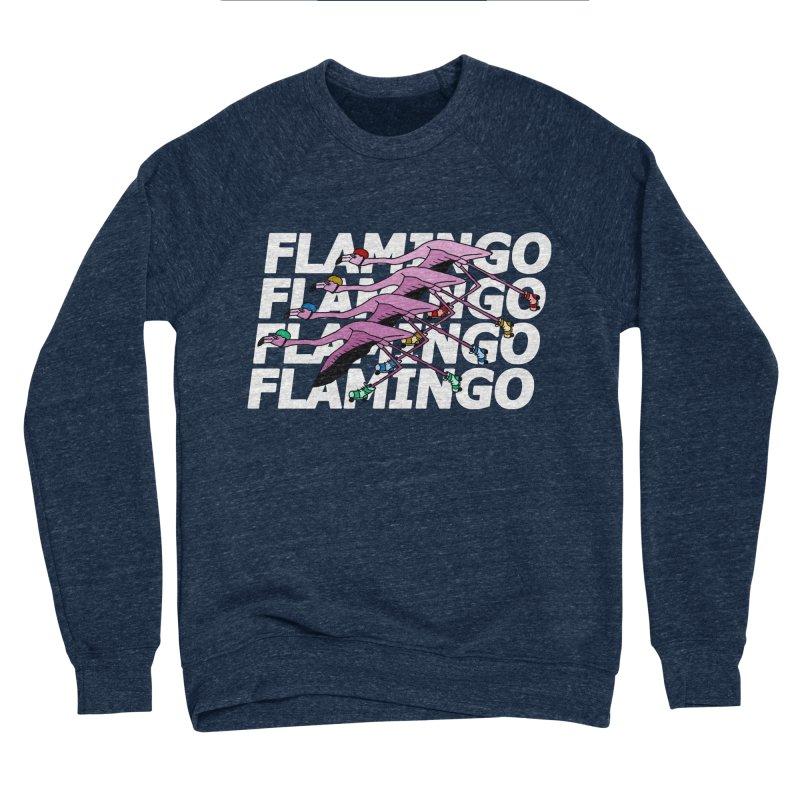 Flamingos - White Letters Women's Sponge Fleece Sweatshirt by sand paper octopi's Artist Shop