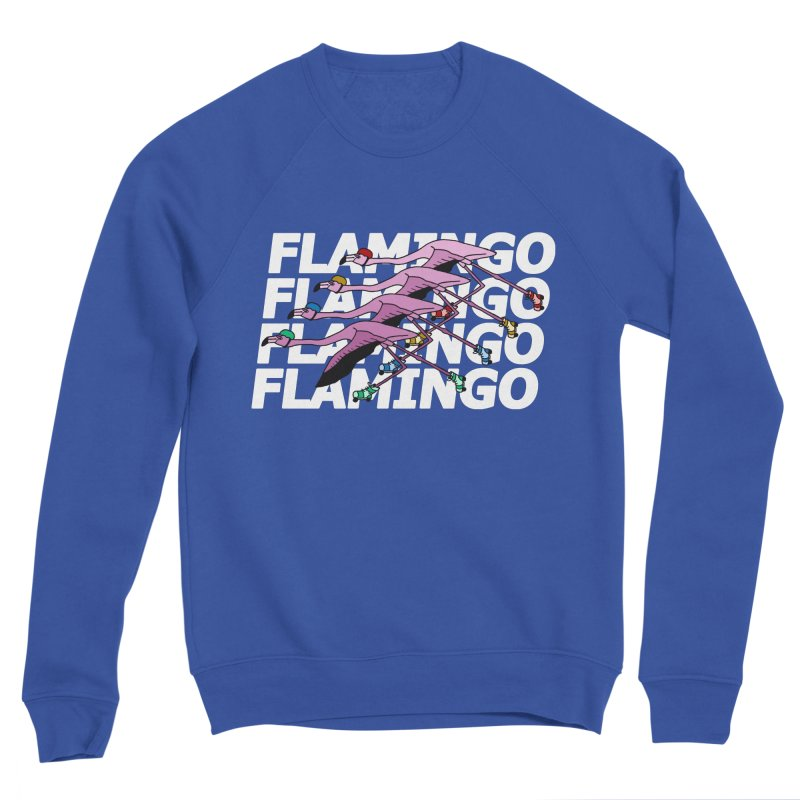 Flamingos - White Letters Men's Sponge Fleece Sweatshirt by sand paper octopi's Artist Shop
