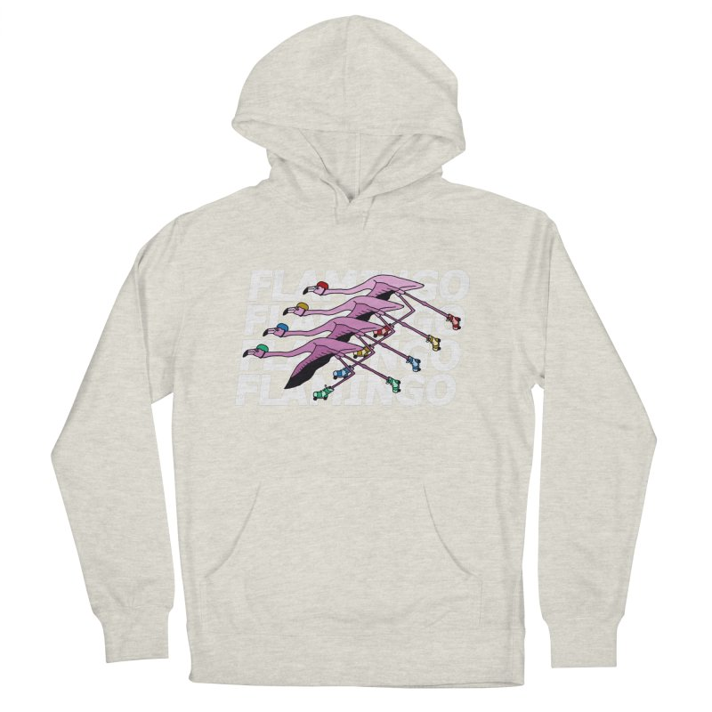 Flamingos - White Letters Women's French Terry Pullover Hoody by sand paper octopi's Artist Shop