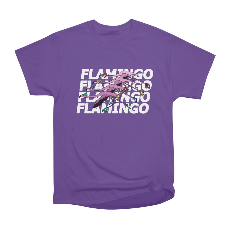 Flamingos - White Letters Women's Heavyweight Unisex T-Shirt by sand paper octopi's Artist Shop