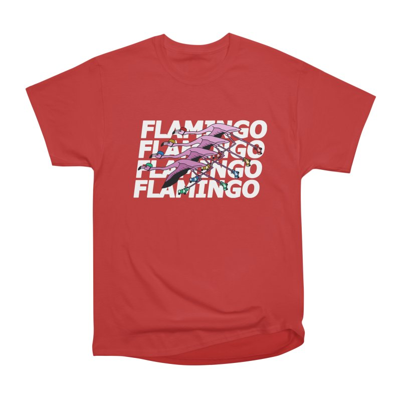 Flamingos - White Letters Men's Heavyweight T-Shirt by sand paper octopi's Artist Shop