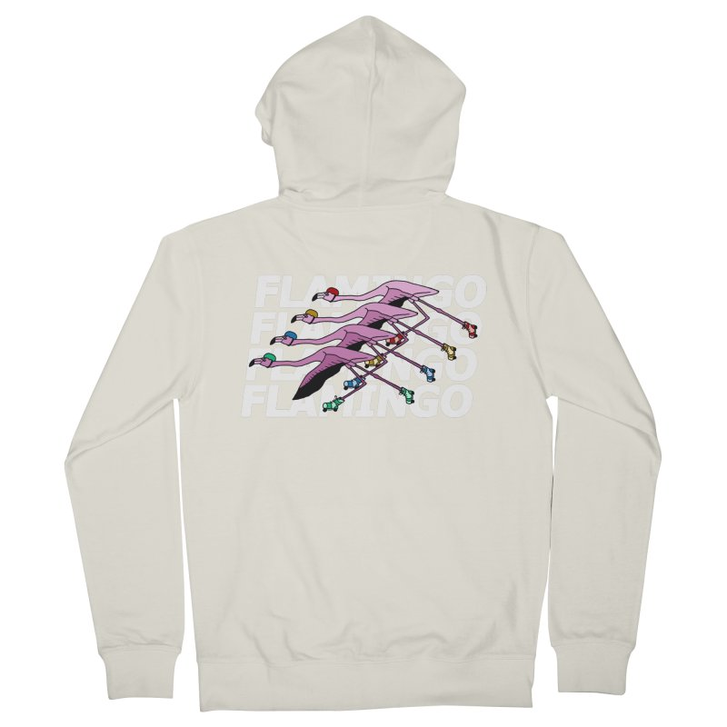Flamingos - White Letters Men's French Terry Zip-Up Hoody by sand paper octopi's Artist Shop
