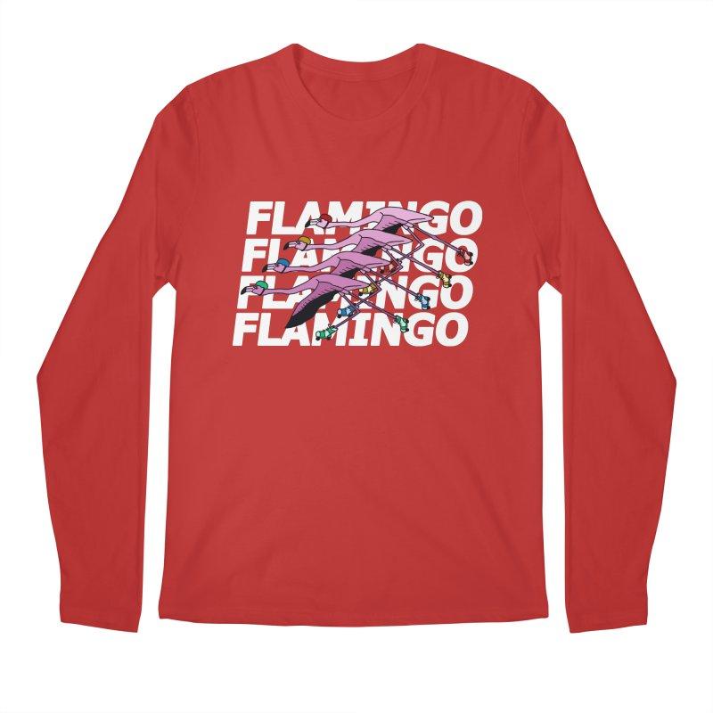 Flamingos - White Letters Men's Regular Longsleeve T-Shirt by sand paper octopi's Artist Shop