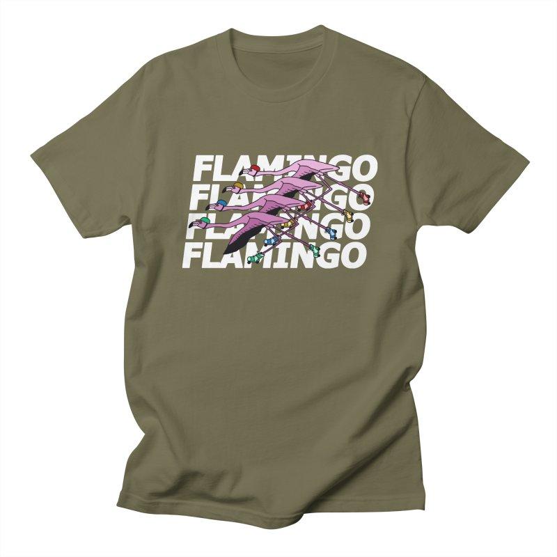 Flamingos - White Letters Men's Regular T-Shirt by sand paper octopi's Artist Shop