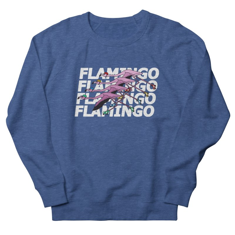 Flamingos - White Letters Women's French Terry Sweatshirt by sand paper octopi's Artist Shop