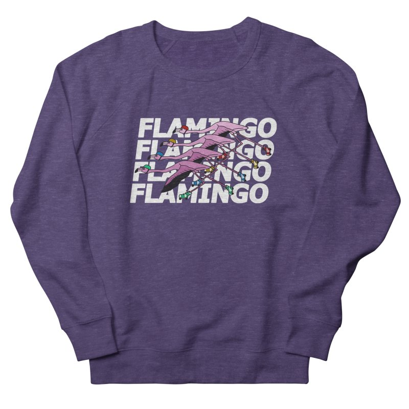 Flamingos - White Letters Men's French Terry Sweatshirt by sand paper octopi's Artist Shop