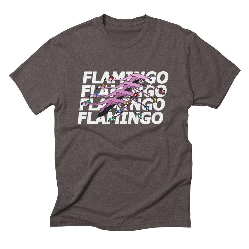 Flamingos - White Letters Men's Triblend T-Shirt by sand paper octopi's Artist Shop