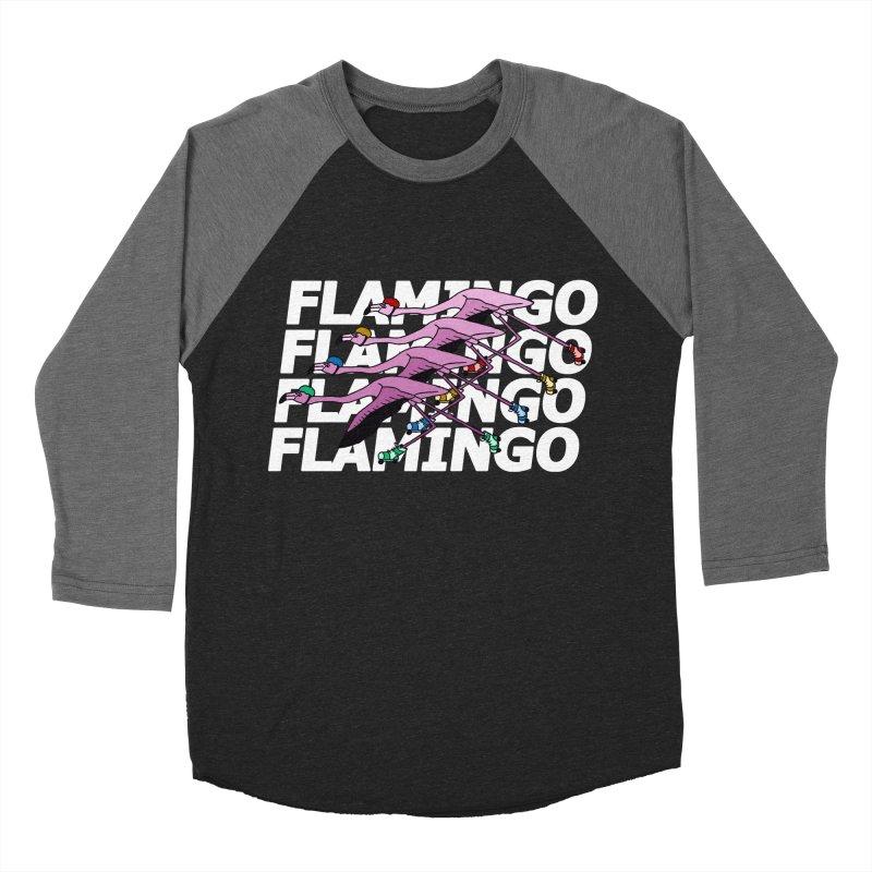 Flamingos - White Letters Men's Baseball Triblend Longsleeve T-Shirt by sand paper octopi's Artist Shop