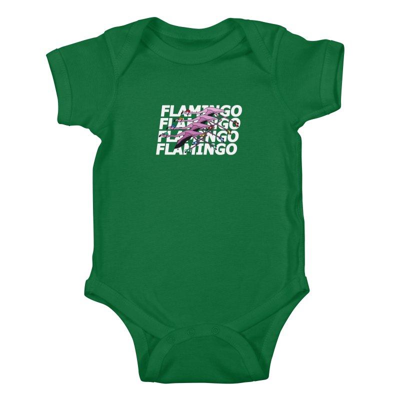 Flamingos - White Letters Kids Baby Bodysuit by sand paper octopi's Artist Shop