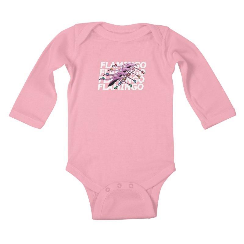 Flamingos - White Letters Kids Baby Longsleeve Bodysuit by sand paper octopi's Artist Shop